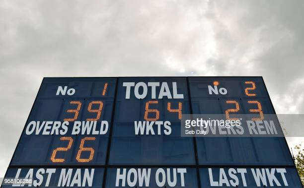 Dublin Ireland 13 May 2018 A general view of the scoreboard at the close of play on day three of the International Cricket Test match between Ireland...