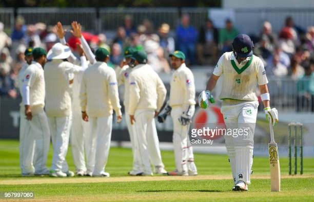 Dublin Ireland 13 May 2018 Andrew Balbirnie of Ireland right leaves the field after being trapped LBW off a delivery from Mohammad Abbas of Pakistan...