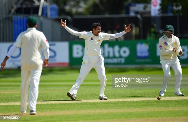 Dublin Ireland 13 May 2018 Mohammad Abbas of Pakistan centre reacts after trapping Ed Joyce of Ireland lbw during day three of the International...