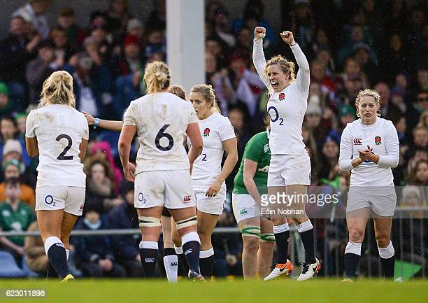 Dublin Ireland 13 November 2016 Danielle Waterman second from right of England celebrates at the final whistle during the Women's Autumn...
