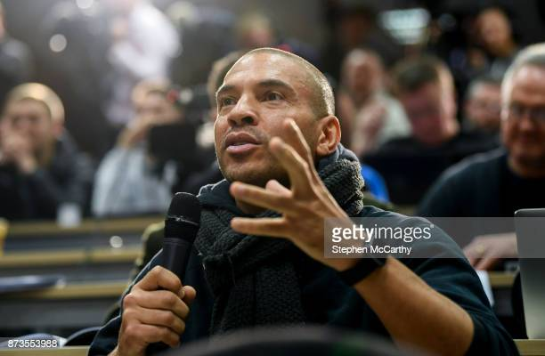 Dublin Ireland 13 November 2017 Former England international Stan Collymore now working as journalist for RT asks a question during a Republic of...