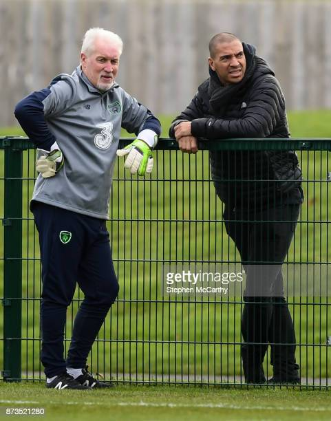 Dublin Ireland 13 November 2017 Republic of Ireland goalkeeping coach Seamus McDonagh and Stan Collymore during Republic of Ireland squad training at...