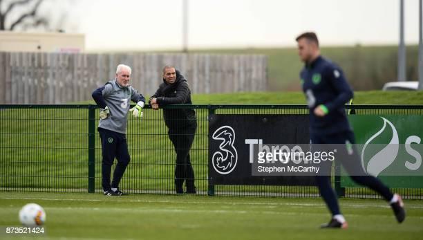 Dublin Ireland 13 November 2017 Republic of Ireland goalkeeping coach Seamus McDonagh and Stan Collymore during Republic of Ireland squad training at...