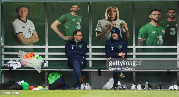 Dublin Ireland 13 November 2017 Republic of Ireland manager Martin O'Neill and assistant Roy Keane right during squad training at the FAI National...