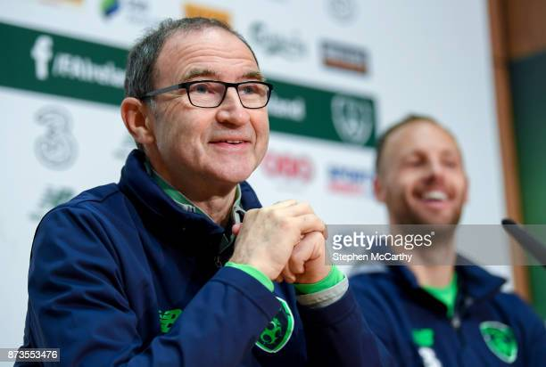 Dublin Ireland 13 November 2017 Republic of Ireland manager Martin O'Neill and David Meyler during a press conference at the FAI National Training...