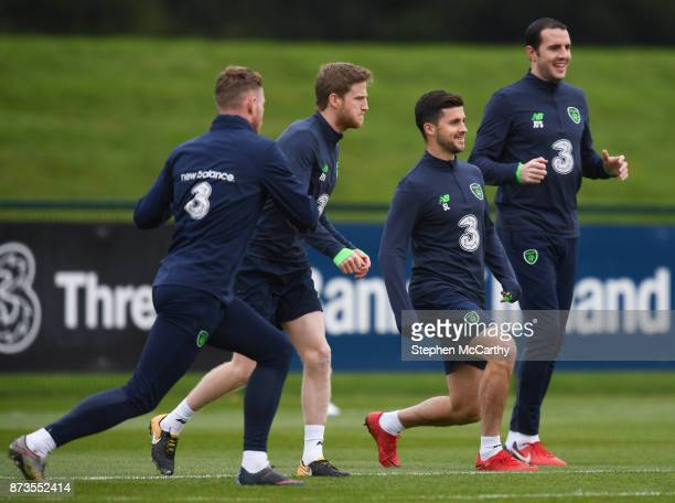 Dublin Ireland 13 November 2017 Republic of Ireland players from left Aiden O'Brien Eunan O'Kane Shane Long and John O'Shea during squad training at...