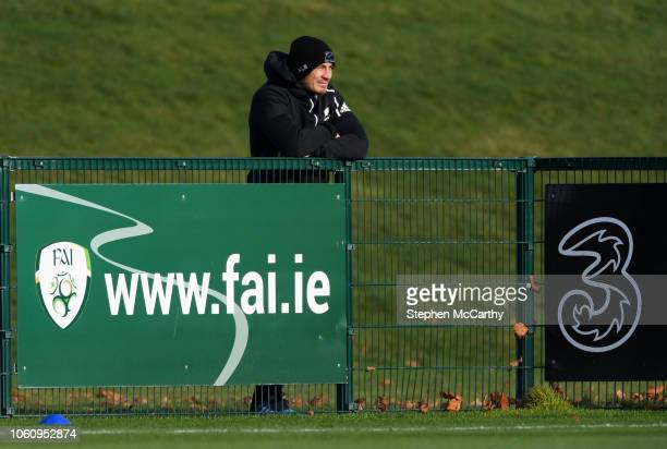 Dublin Ireland 13 November 2018 Anton LienertBrown of the New Zealand All Blacks watches on during a Republic of Ireland training session at the FAI...