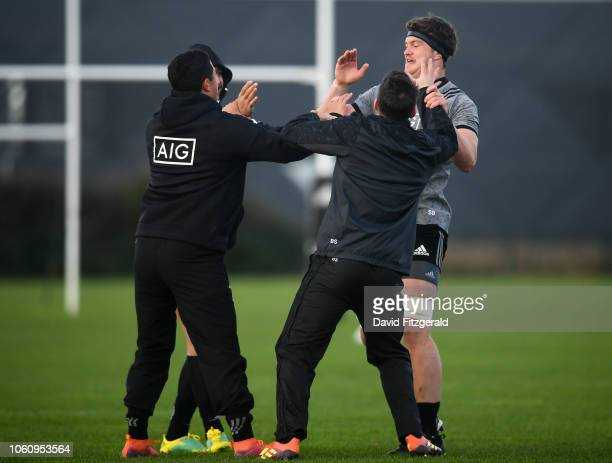 Dublin Ireland 13 November 2018 Players from left Rieko Ioane Anton LienertBrown Ben Smith and Scott Barrett during a New Zealand Rugby squad...