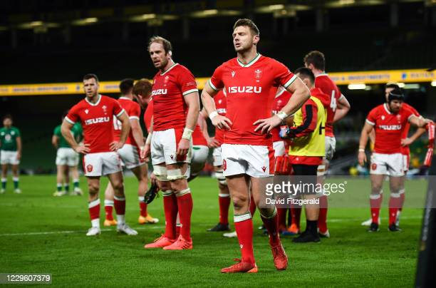 Dublin , Ireland - 13 November 2020; Alun Wyn-Jones, second from left, and Dan Biggar of Wales react during the Autumn Nations Cup match between...