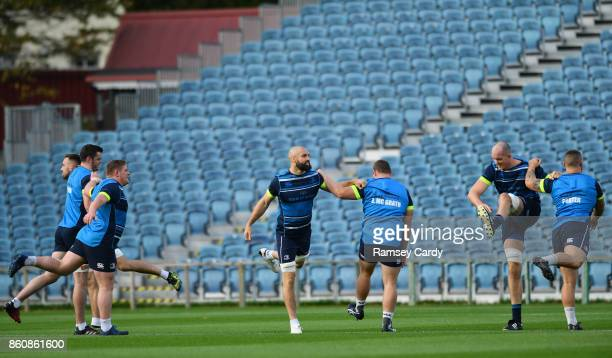 Dublin Ireland 13 October 2017 Leinster players including Scott Fardy centre during their captains run at the RDS Arena in Dublin