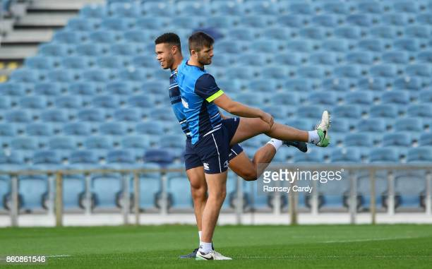 Dublin Ireland 13 October 2017 Leinster's Ross Byrne right and Adam Byrne during their captains run at the RDS Arena in Dublin