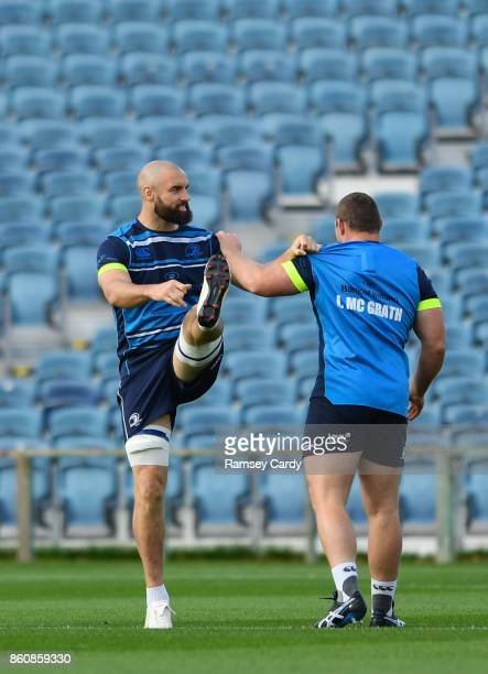 Dublin Ireland 13 October 2017 Leinster's Scott Fardy during their captains run at the RDS Arena in Dublin
