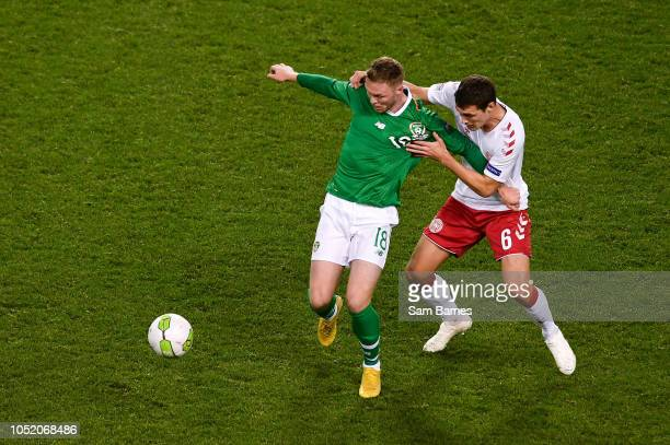 Dublin Ireland 13 October 2018 Aiden O'Brien of Republic of Ireland in action against Andreas Christensen of Denmark during the UEFA Nations League B...