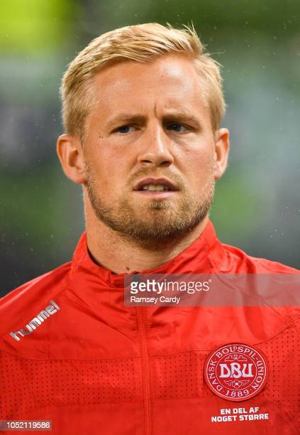 Dublin Ireland 13 October 2018 Kasper Schmeichel of Denmark ahead of the UEFA Nations League B group four match between Republic of Ireland and...