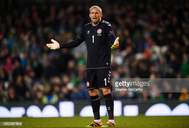 Dublin Ireland 13 October 2018 Kasper Schmeichel of Denmark appeals to officials during the UEFA Nations League B group four match between Republic...