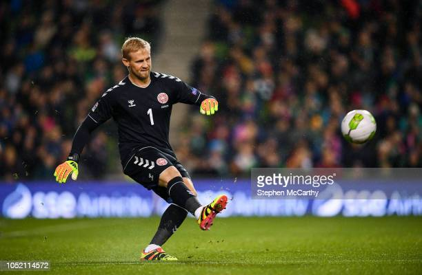 Dublin Ireland 13 October 2018 Kasper Schmeichel of Denmark during the UEFA Nations League B group four match between Republic of Ireland and Denmark...