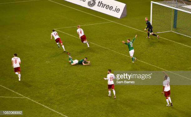 Dublin Ireland 13 October 2018 Shane Duffy of Republic of Ireland centre and teammate Aiden O'Brien appeal for a penalty following a challenge by...