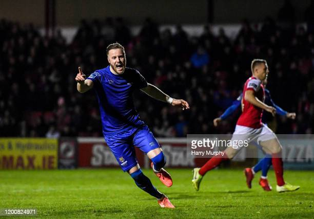 Dublin , Ireland - 14 February 2020; Kevin OConnor of Waterford celebrates after scoring his side's first goal during the SSE Airtricity League...