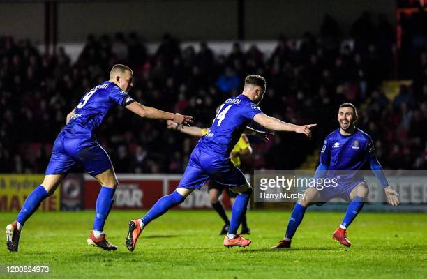 Dublin , Ireland - 14 February 2020; Kevin OConnor of Waterford celebrates after scoring his side's first goal with team-mates Michael OConnor, left,...
