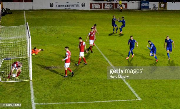 Dublin , Ireland - 14 February 2020; Kevin OConnor of Waterford celebrates after scoring his side's first goal with team-mates during the SSE...