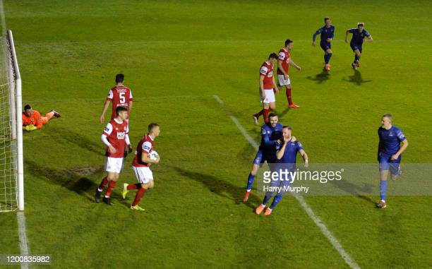 Dublin , Ireland - 14 February 2020; Kevin OConnor of Waterford celebrates after scoring his side's first goal with team-mate Robert McCourt during...