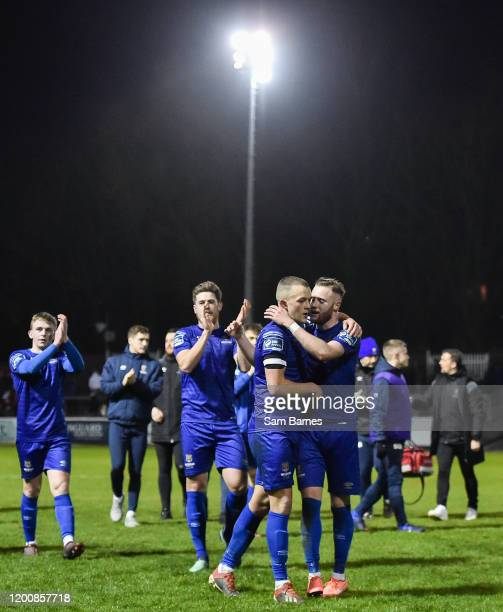 Dublin , Ireland - 14 February 2020; Waterford players applaud their supporters as Michael OConnor and Kevin OConnor, centre embrace, following the...