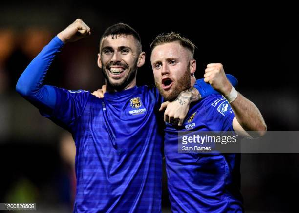 Dublin , Ireland - 14 February 2020; Winning goal scorer Kevin OConnor of Waterford, right, celebrates with Robert McCourt following the SSE...
