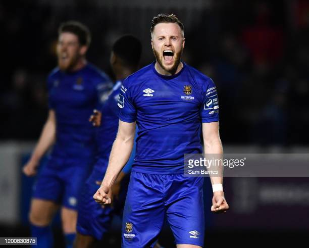 Dublin , Ireland - 14 February 2020; Winning goal scorer Kevin OConnor of Waterford celebrates at the final whistle following the SSE Airtricity...