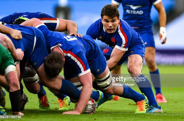 Dublin , Ireland - 14 February 2021; Antoine Dupont of France during the Guinness Six Nations Rugby Championship match between Ireland and France at...