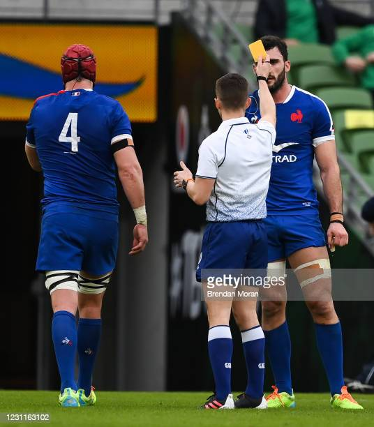 Dublin , Ireland - 14 February 2021; Bernard Le Roux of France receives a yellow card from referee Luke Pearce during the Guinness Six Nations Rugby...