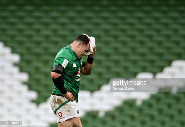 Dublin , Ireland - 14 February 2021; Cian Healy of Ireland leaves the pitch for a head injury assessment during the Guinness Six Nations Rugby...