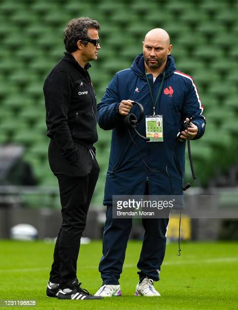 Dublin , Ireland - 14 February 2021; France head coach Fabien Galthie, left, with performance director Thibault Giraud prior to the Guinness Six...