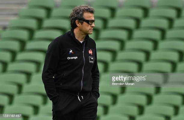 Dublin , Ireland - 14 February 2021; France head coach Fabien Galthie ahead of the Guinness Six Nations Rugby Championship match between Ireland and...