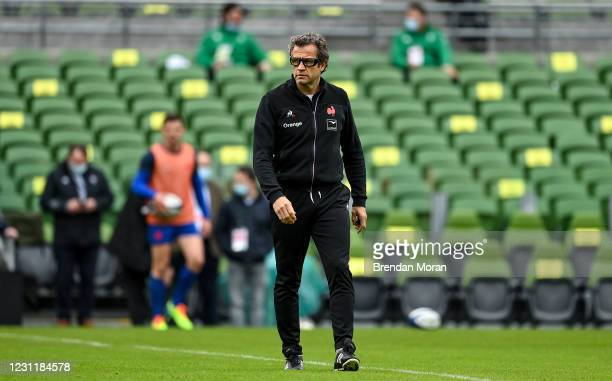 Dublin , Ireland - 14 February 2021; France head coach Fabien Galthie prior to the Guinness Six Nations Rugby Championship match between Ireland and...