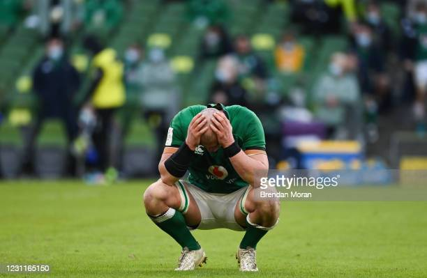 Dublin , Ireland - 14 February 2021; Rhys Ruddock of Ireland reacts after the final whistle of the Guinness Six Nations Rugby Championship match...