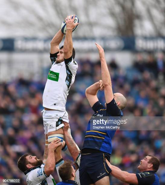 Dublin Ireland 14 January 2018 Adam Ashe of Glasgow Warriors takes possession in a lineout ahead of Devin Toner of Leinster during the European Rugby...