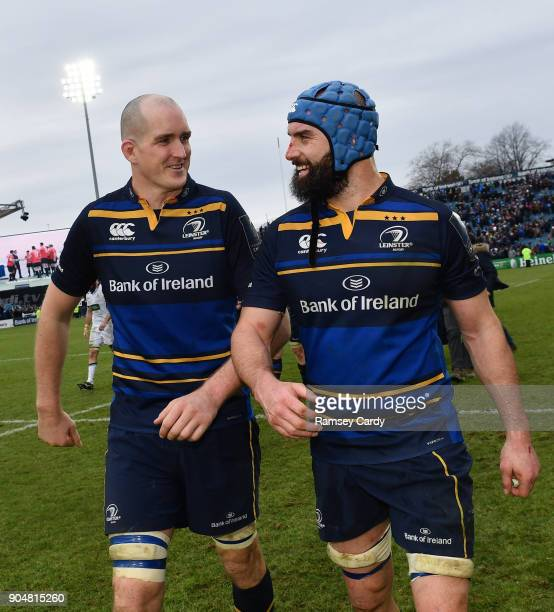 Dublin Ireland 14 January 2018 Devin Toner left and Scott Fardy of Leinster following the European Rugby Champions Cup Pool 3 Round 5 match between...