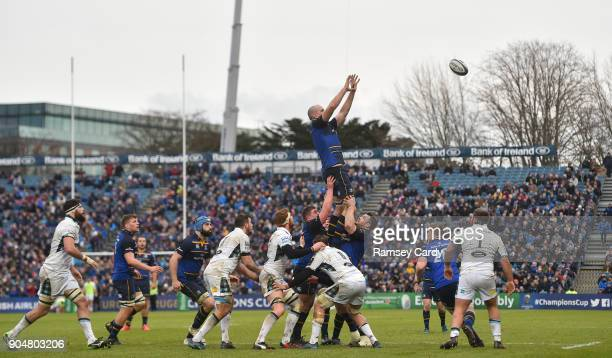 Dublin Ireland 14 January 2018 Devin Toner of Leinster wins possession in a lineout during the European Rugby Champions Cup Pool 3 Round 5 match...