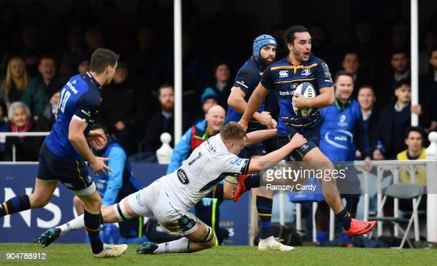 Dublin Ireland 14 January 2018 James Lowe of Leinster is tackled by Matt Smith of Glasgow Warriors during the European Rugby Champions Cup Pool 3...