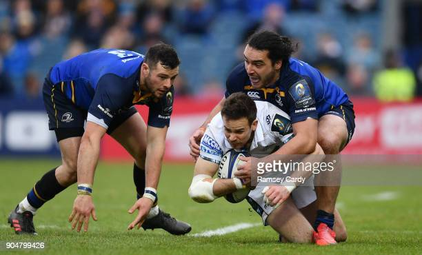Dublin Ireland 14 January 2018 Ruaridh Jackson of Glasgow Warriors is tackled by James Lowe of Leinster during the European Rugby Champions Cup Pool...