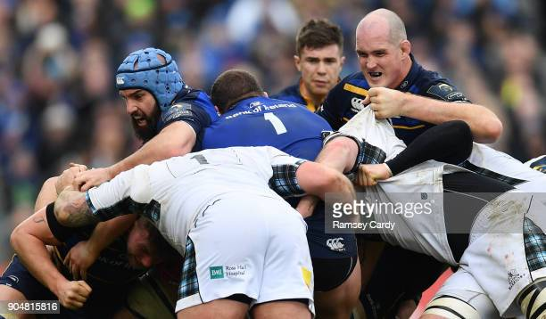 Dublin Ireland 14 January 2018 Scott Fardy left and Devin Toner of Leinster during the European Rugby Champions Cup Pool 3 Round 5 match between...