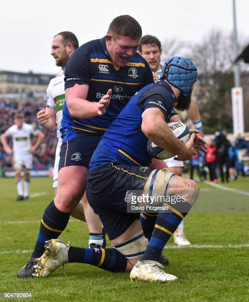 Dublin Ireland 14 January 2018 Scott Fardy of Leinster is congratulated by team mate Tadhg Furlong after scoring his side's fourth try during the...