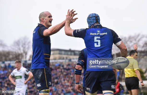 Dublin Ireland 14 January 2018 Scott Fardy of Leinster is congratulated by team mate Devin Toner after scoring his side's fourth try during the...