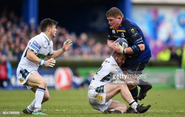 Dublin Ireland 14 January 2018 Tadhg Furlong of Leinster is tackled by Nick Grigg of Glasgow Warriors during the European Rugby Champions Cup Pool 3...