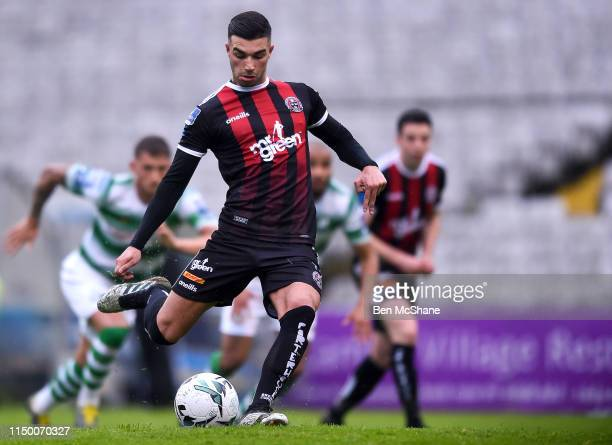 Dublin Ireland 14 June 2019 Daniel Mandroiu of Bohemians shoots to score his side's first goal from a penalty during the SSE Airtricity League...
