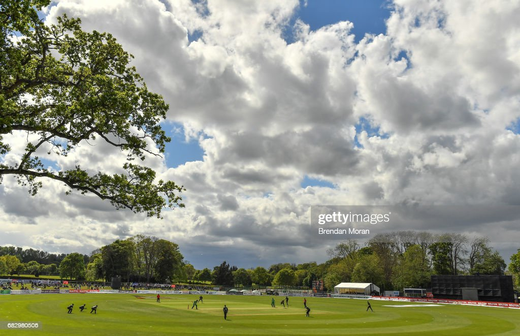 Dublin , Ireland - 14 May 2017; A general view of play during the One Day International match between Ireland and New Zealand at Malahide Cricket Club in Dublin.