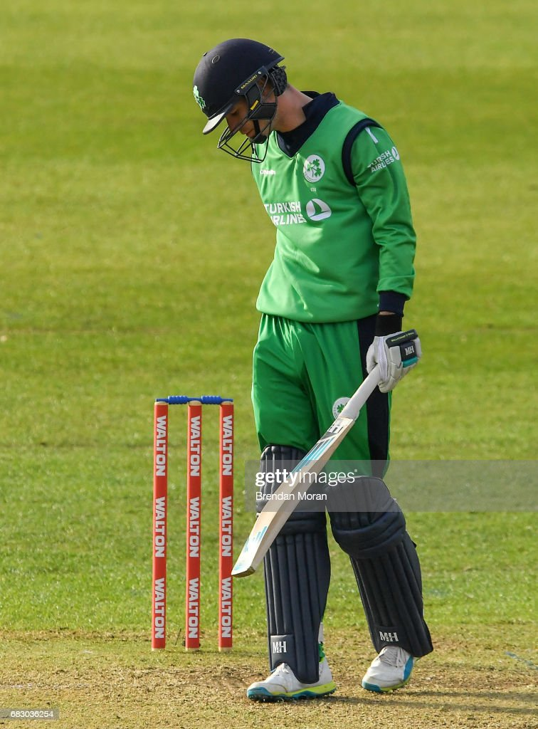 Dublin , Ireland - 14 May 2017; George Dockrell of Ireland reacts after being caught for one run during the One Day International match between Ireland and New Zealand at Malahide Cricket Club in Dublin.