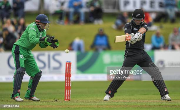 Dublin Ireland 14 May 2017 Ireland wicketkeeper Niall O'Brien attempts to catch Neil Broom of New Zealand during the One Day International match...