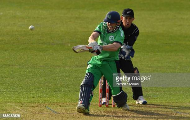 Dublin Ireland 14 May 2017 Niall O'Brien of Ireland hits a single off a delivery by Mitchell Santner of New Zealand during the One Day International...