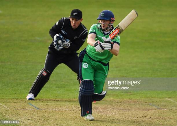 Dublin Ireland 14 May 2017 Niall O'Brien of Ireland is caught and stumped by wicketkeeper Luke Ronchi of New Zealand during the One Day International...